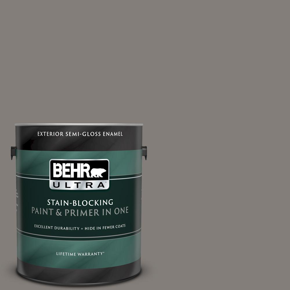 1 gal. #PPU18-17 Suede Gray Semi-Gloss Enamel Exterior Paint and Primer in One