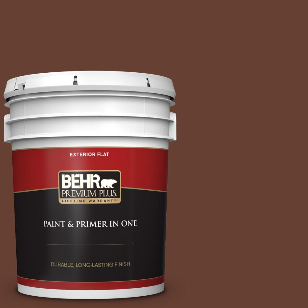 5 gal. #BXC-45 Classic Brown Flat Exterior Paint and Primer in One