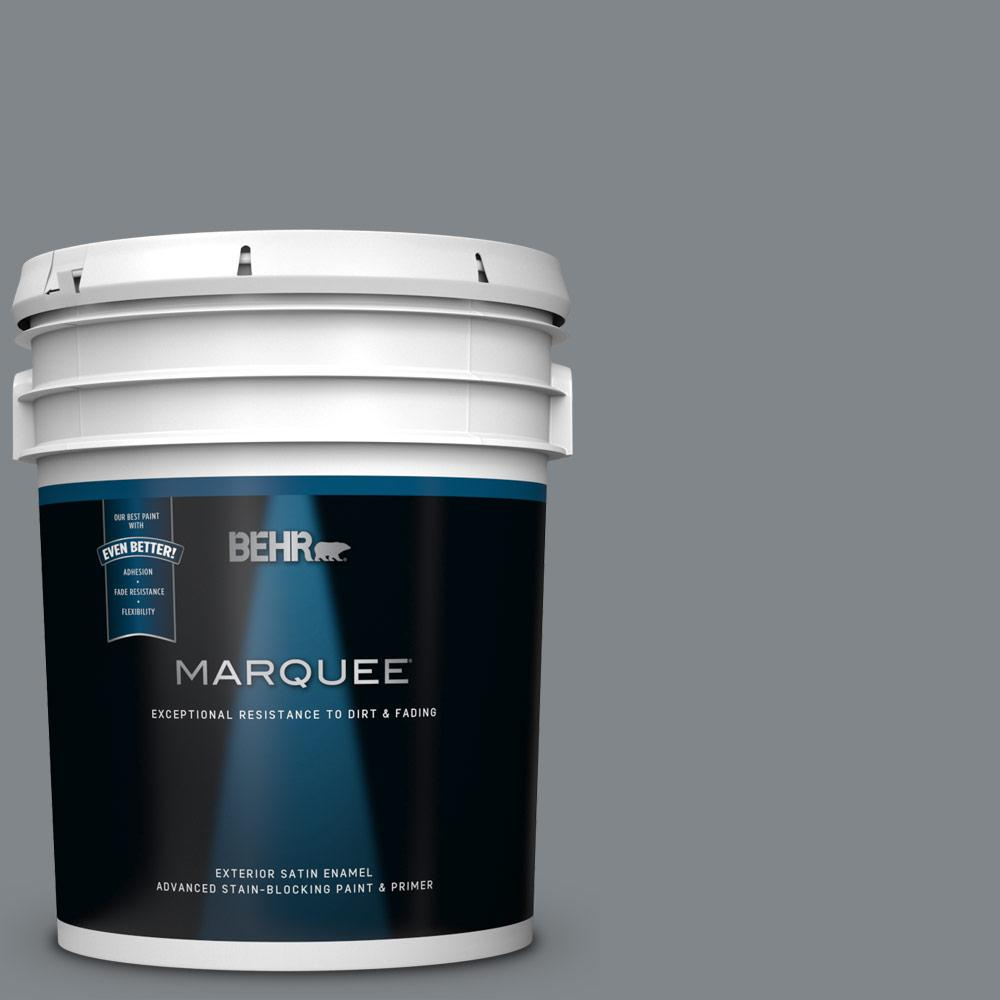 5 gal. #N500-5 Magnetic Gray color Satin Enamel Exterior Paint and Primer in One