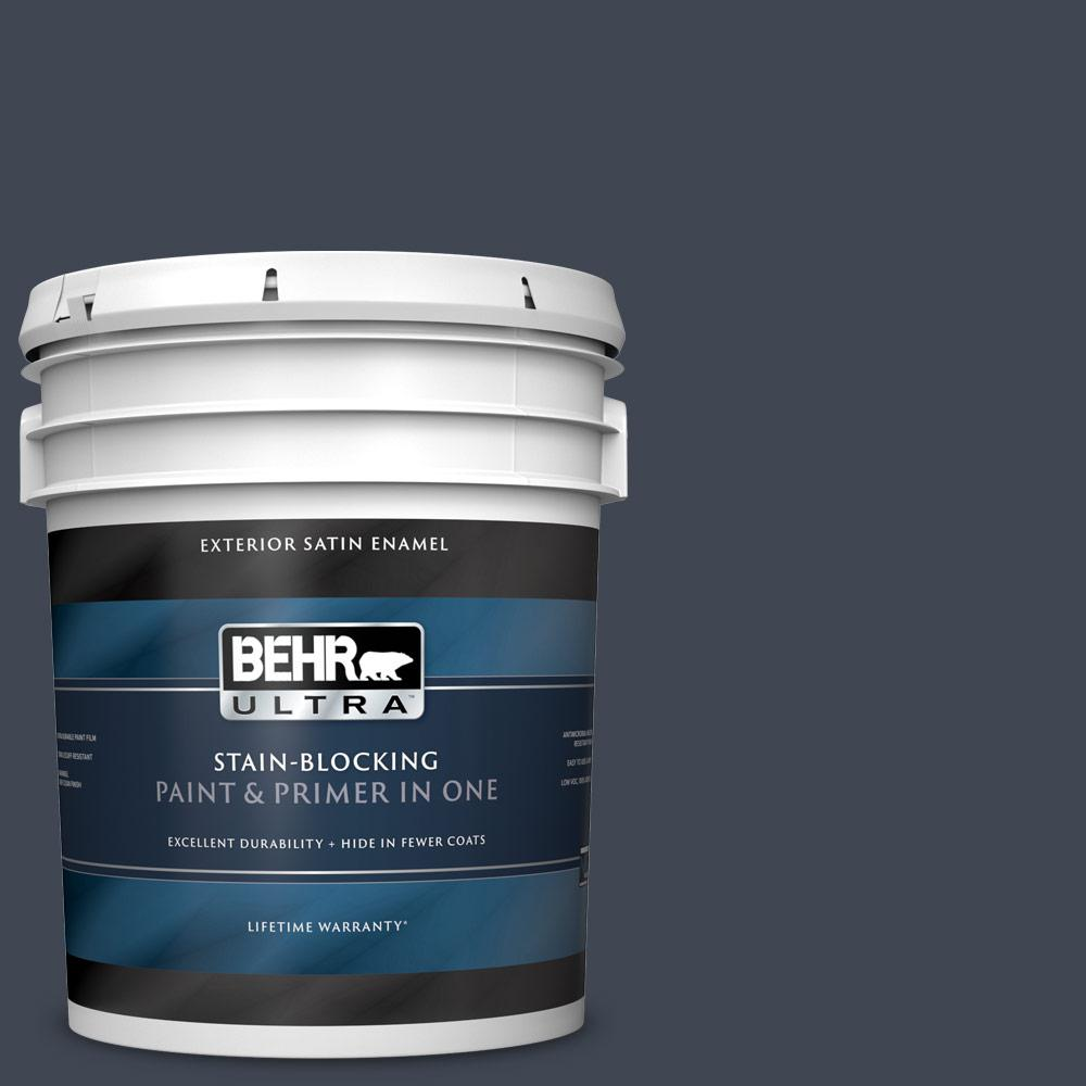5 gal. #PPU14-20 Starless Night Satin Enamel Exterior Paint and Primer in One