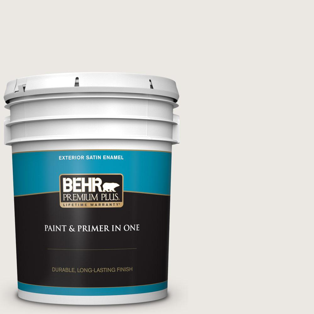 5 gal. #MQ3-32 Cameo White Satin Enamel Exterior Paint and Primer in One