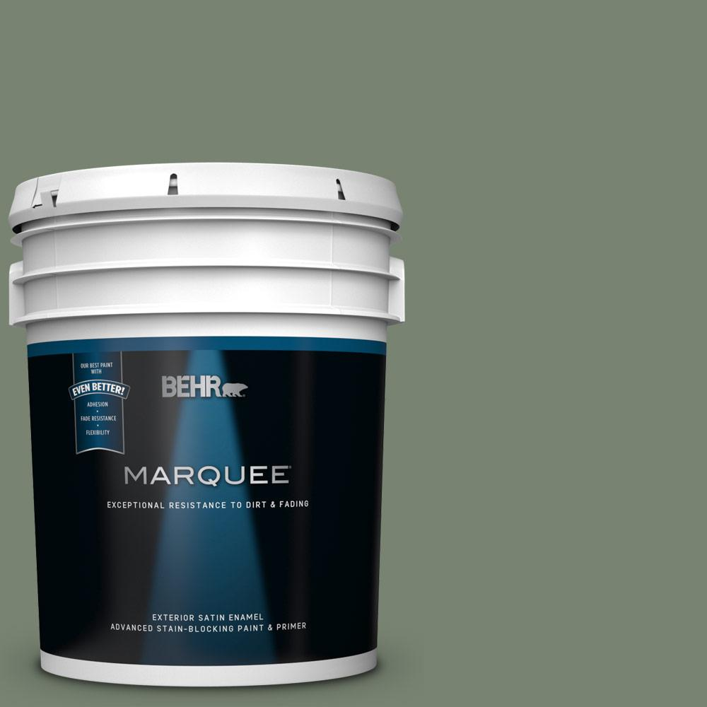 5 gal. #ICC-77 Sage Green Satin Enamel Exterior Paint and Primer in One