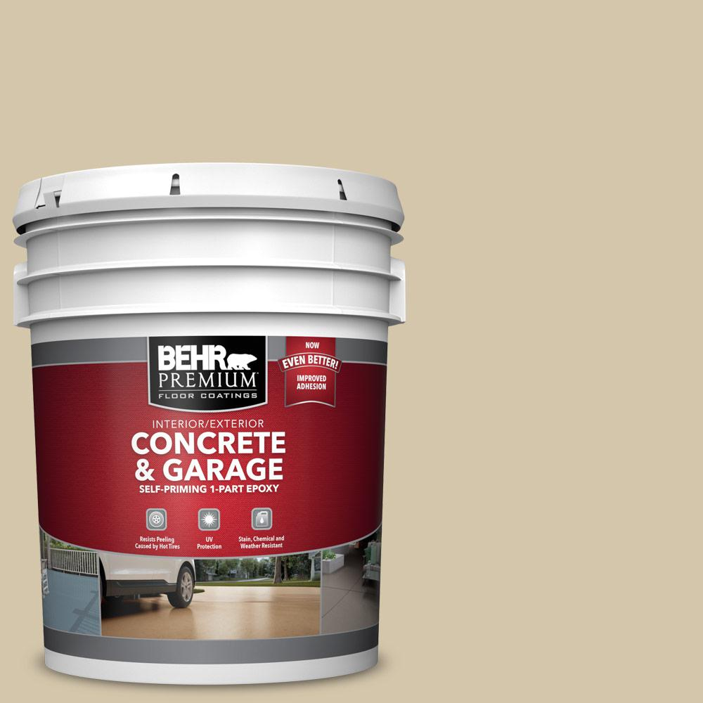 5 gal. #YL-W11 Khaki Shade 1-Part Epoxy Satin Interior/Exterior Concrete and Garage Floor Paint