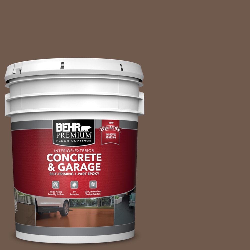 5 gal. #PFC-35 Rich Brown 1-Part Epoxy Satin Interior/Exterior Concrete and Garage Floor Paint
